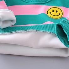 Baby Girl Boy Clothing Sets Autumn Winter Infant Clothes Suits Plus Thick Velvet Stripe Smiley Face T Shirt Pants Child Costume