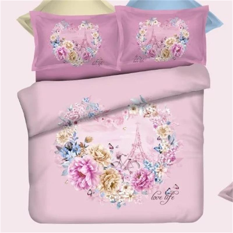 Romantic Heart Flowers Eiffel Tower Love Bedding Set Queen Size 100% Cotton Fabric Duvet Cover Bedsheets Pillowcase Bed in a BagRomantic Heart Flowers Eiffel Tower Love Bedding Set Queen Size 100% Cotton Fabric Duvet Cover Bedsheets Pillowcase Bed in a Bag