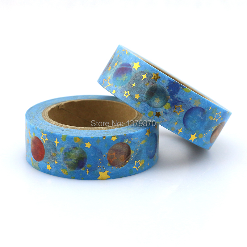 NEW 15mm*10M Brilliant Starry Planet Foil Washi Tape Star - High Quality Paper Adhesive Tape Blue Sticky Paper Tape Masking Tape