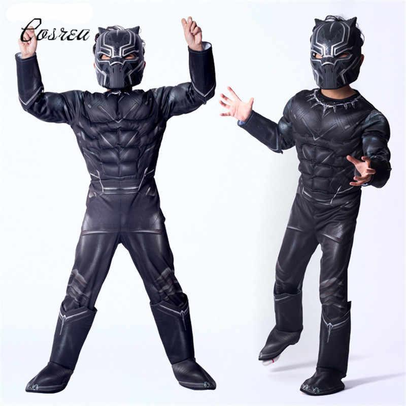 Película negro Pantera casco Cosplay niños negro Pantera disfraz máscaras niños negro mono de una pieza Zentai