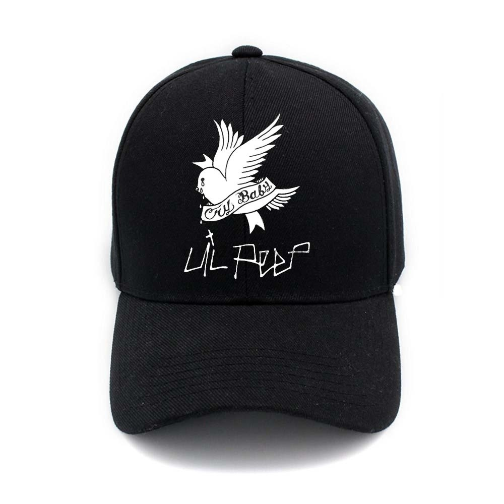 78e84e49f50 Unisex Curved Visor Hat Lil Peep Cry Baby Logo Men Women Plain Baseball Cap  Solid Color Hip Hop Adjustable Peaked Hat-in Baseball Caps from Apparel ...