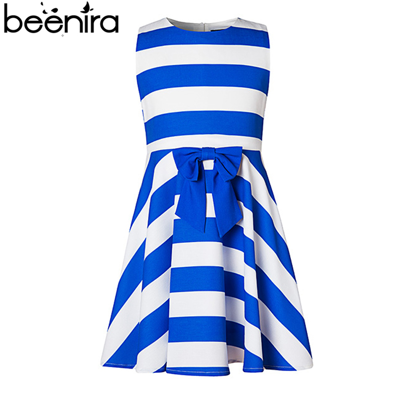 BEENIRA New Summer Girls Dresses Children Princess Naval Style Blue and White Striped Sleeveless Ball Gown Clothing High Quality children s clothing new 2016 sleeveless bow striped princess dress ball gown formal flower girls dresses
