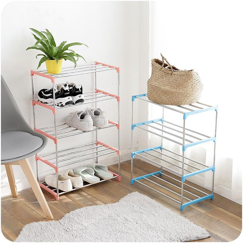 DIY Simple Shoe Rack Storage Shelf 3/4 Layers Stainless Steel Easy To Install Cabinet Home Bedroom Dormitory