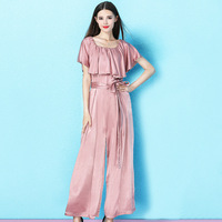 Nordic wind 2019 summer new temperament boat neck ruffled jumpsuit summer women casual loose thin wild jumpsuit women NW19B6171