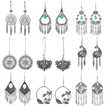 Ethnic Silver Color Earrings For Women 2019 Vintage Bohemian Geometric Leaf Big Round Circle Water Drop Indian Jewelry