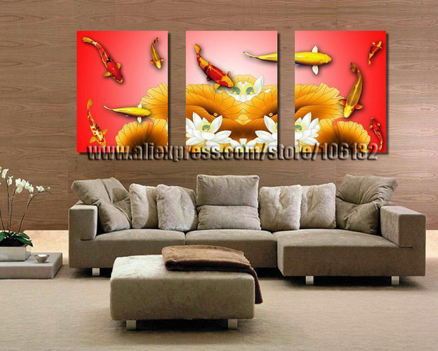 Captivating Framed 3 Panel Canvas Wall Art Koi Fish Chinese Painting Feng Shui Home  Decor A0816