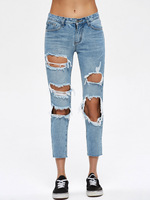 2018 Summer Jeans Hole Ripped Style Women Jeggings Cool Denim High Waist Pants Capris Female Skinny