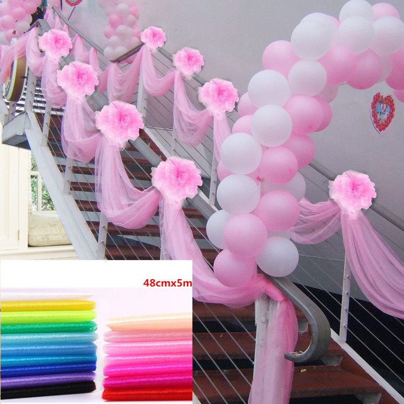 48cm*5meter Sheer Crystal Organza Tulle Roll Fabric for Draping Wedding Ceremony Party Decoration Baby Shower Decor.