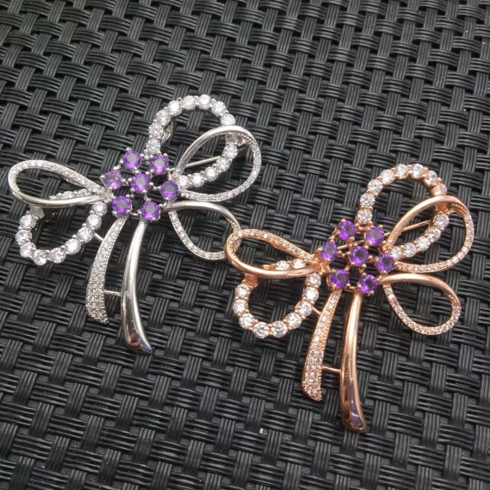 Natural amethyst gem Lovely bowknot brooch S925 silver Natural crystal brooch Pendant trendy women wedding party gift jewelry rhinestone leaf faux gem brooch