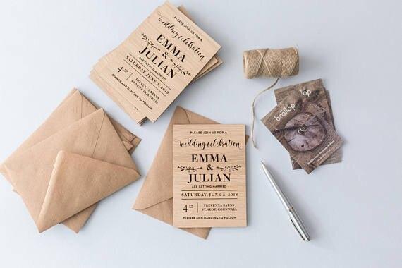 Us 13 43 16 Off Wedding Invitation Rustic Custom Invitations With Envelops Laser Cut Favors Unique Card In