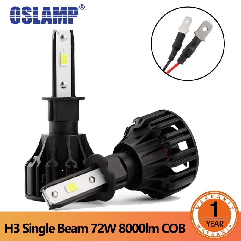 Oslamp T5 Led Tête Lumière 72 W 6500 K H3 Faisceau Unique LED phare Ampoules COB Puces Auto Brouillard Lumière DC 12 V 24 V 8000LM projecteur dans Phare Ampoules de Automobiles et Motos