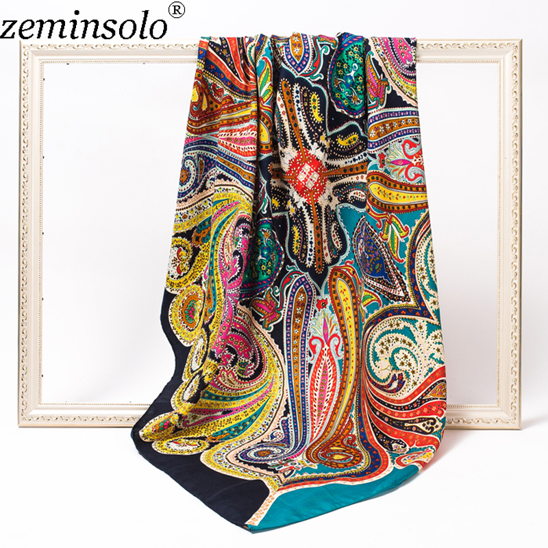 2018 New Luxury Brand Scarf Bandana Female Printed Large Square Winter Wrap Scarf Warm Shawls Stoles Scarves For Women 120*120cm