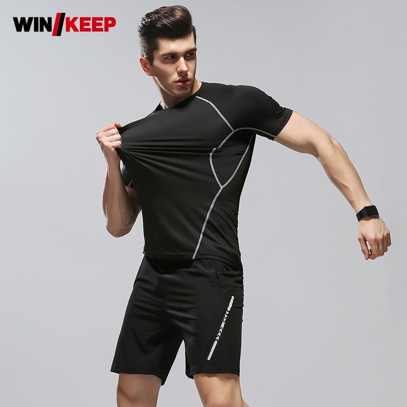 Vêtements de Sport à séchage rapide d'été vêtements de Sport compressés vêtements de Sport noirs extensibles hommes Shorts Costume pour courir M-3XL grande taille