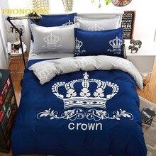 Royal crown blue lecho 4 unids edredón nórdico/edredón sábana cubierta fundas de almohada de tamaño queen doble completo ropa de cama