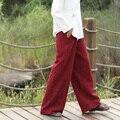 Хлопок Белье Эластичный Пояс Женщины Брюки Твердые Красный Черный Белый старинные Широкие Брюки ноги Осень Новые Свободные Широкую ногу Брюки 5070