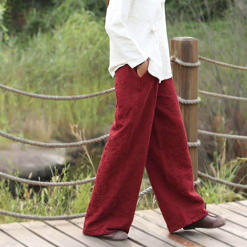Cotton Linen Elastic waist Women Pants Solid Red Black White Vintage Wide leg Pants Autumn New