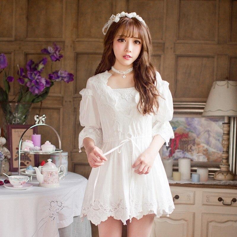 Princesse douce lolita blouse bonbon pluie douce mousseline de soie blanc dentelle protection Uv princesse blouse C16AB6096-1