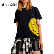 03a1b0f8ac SheInGirl Women 2018 New Arrival Smile Face Print T Shirt Crew Neck Short  Sleeve Black Loose Tee Fit Casual Tops T-shirt