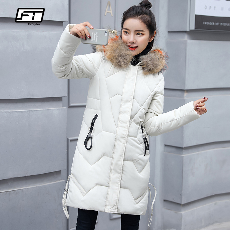 Fitaylor New 2019 Female Faux Fur Hooded Thick Warm Jacket Winter Women Jacket Cotton Padded Long   Parka   Coat Women Overcoat