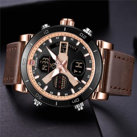NAVIFORCE Men Watch Top Brand Luxury Sport Chronograph Digital Male Clock Genuine Leather LED Military Quartz Wristwatch 9132 Lahore