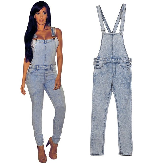 Vintage Style Women Jumpsuits Denim Overalls Skinny Lady Hole Loose Pants Jeans  ER5