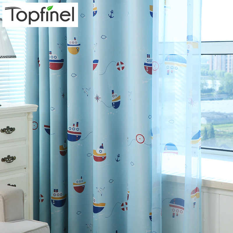 Top Finel New Ready Made Cheap Children Curtains Kids Baby Room Decorative Curtains for Bedroom Home Curtains Window Blue Boat