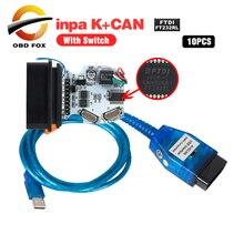INPA/Ediabas K+ DCAN с переключенным интерфейсом USB для bmw OBD CAN Reader сканер INPA DIS SSS NCS кодирование 10 шт./лот DHL бесплатно