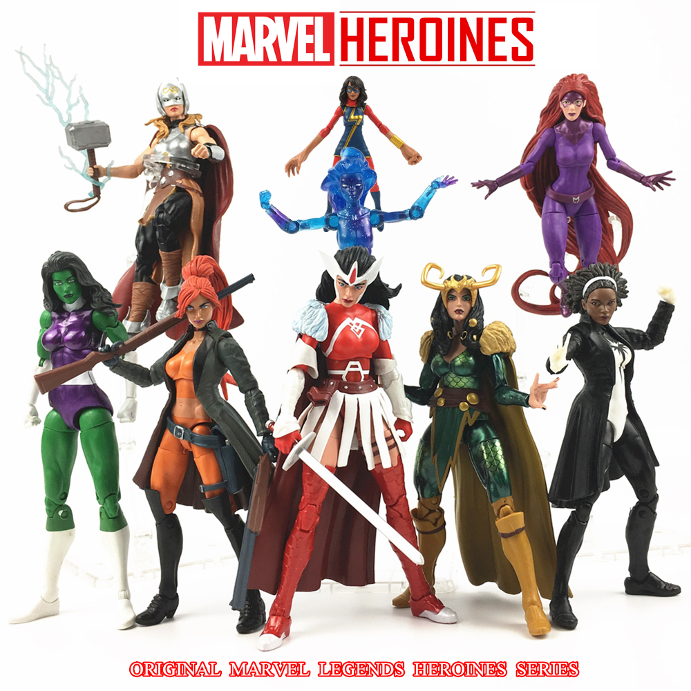 Marvel Legends Heroines 6 Action Figure Ms Marvel SIF Dark Phoneix Magik Medusa ELSA Monica Lady Thor Loki Hulk TRU Collectible super hero marvel lady sif thor hela valkyrja figure bruce banner berserker mandarin red skull building blocks single sale toys
