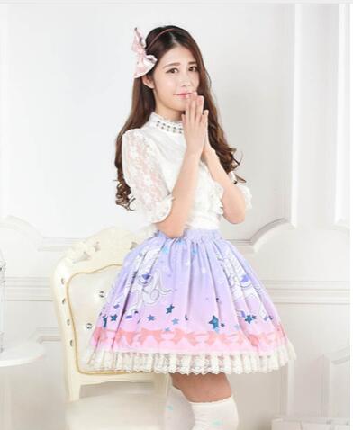 Doux Ombre Rose Licorne Imprimé Dentelle dame Jupe Lolita