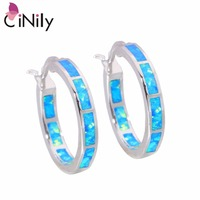 CiNily Created Blue White Fire Opal Authentic .925 Sterling Silver Wholesale NEW for Women Jewelry Hoop Earrings 25mm SE010-11