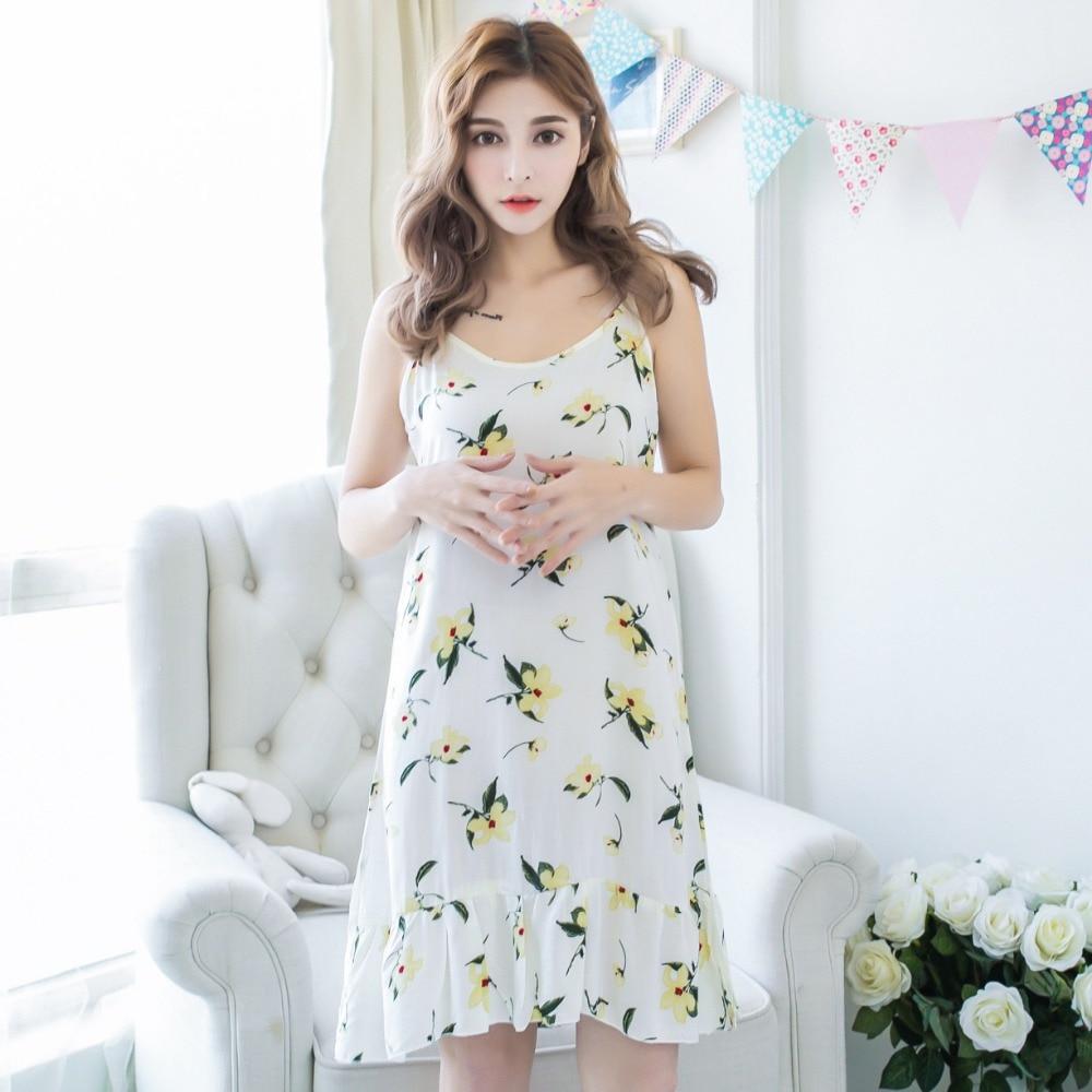 6a192c7b96 ... Summer Sexy Korean Night Dress Womens Nightgown Nightwear Cotton  Spaghetti Strap Print Ladies Long Nightdresses Sleepwear ...