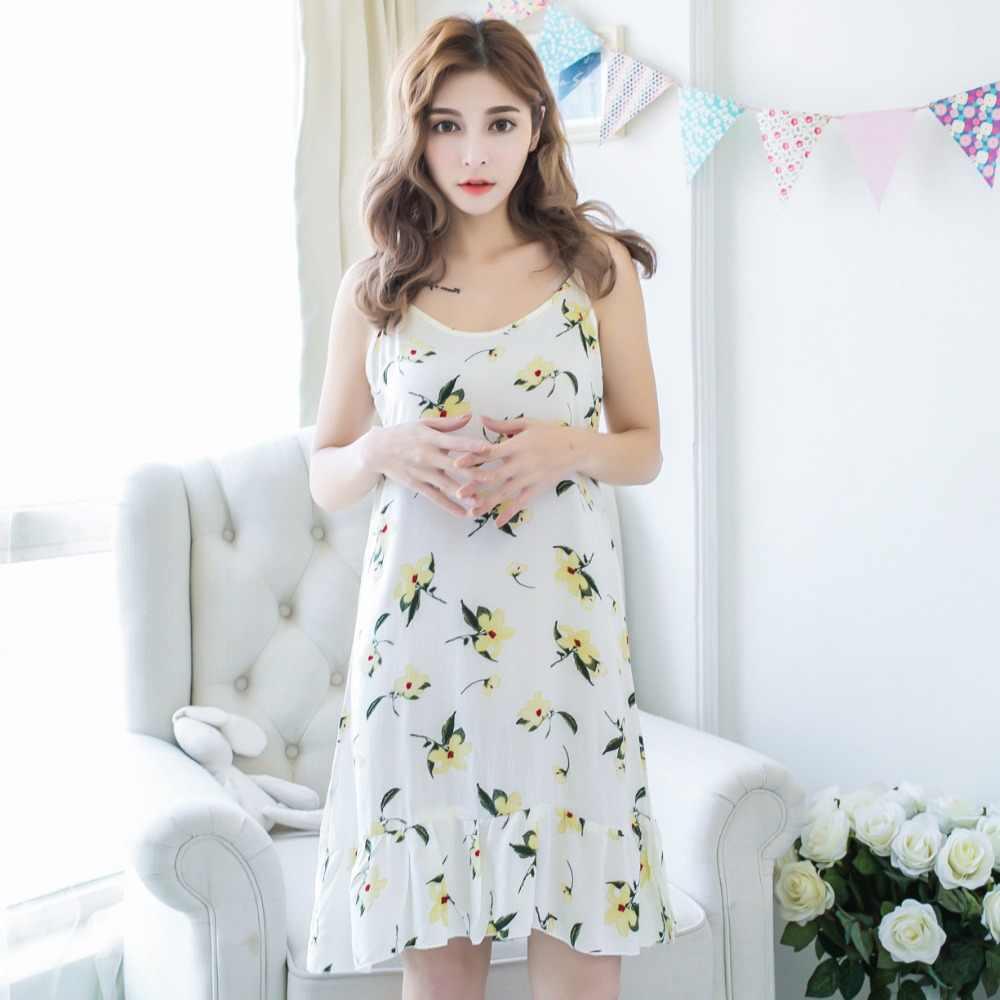 0eaa79e0c90a ... Summer Sexy Korean Night Dress Women s Nightgown Nightwear Cotton Spaghetti  Strap Print Ladies Long Nightdresses Sleepwear ...