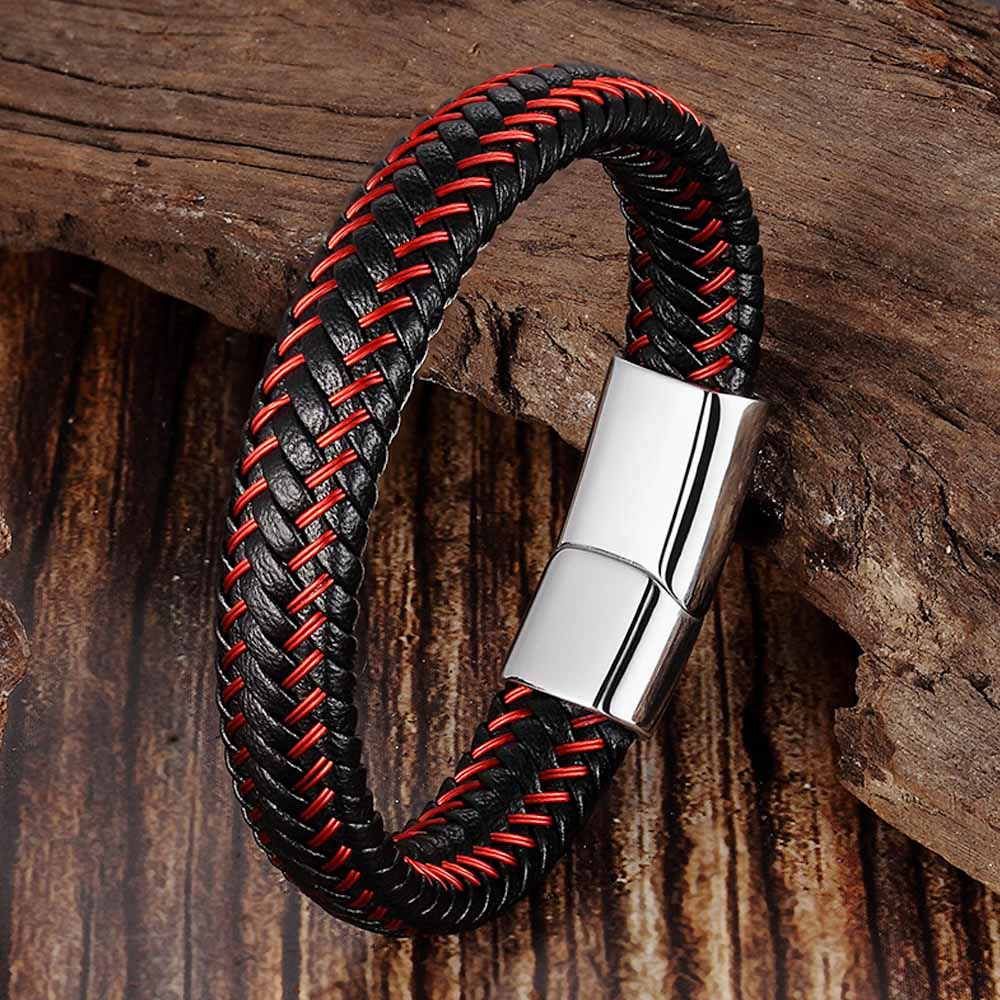 Trendy Men Jewelry Red Braided Leather Rope Bracelet Black Magnetic Buckle Bracelets Punk Men Wrist Band Pulsera Hombre