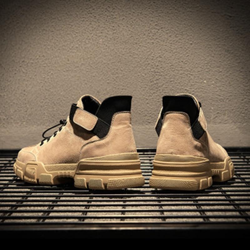 Couro Tendência cotton Cotton Coreana Ajudar Algodão Selvagem Single De Homens Inglaterra Dos Casuais Outono Inverno Versão Single Color Alta Para Ferramental Sapatos Da sand FnxfRv4