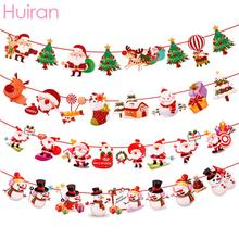 Huiran 3M Christmas Banner Decoration For Home 2019 Ornaments Santa Snowman Noel Flags New Year 2020 Natal