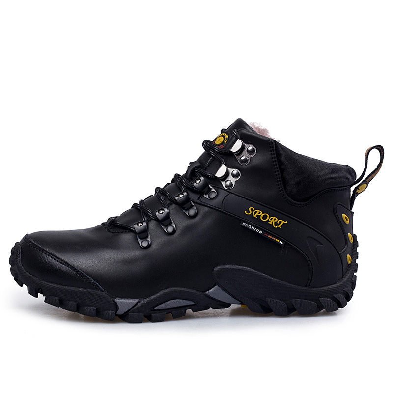 Winter Cow Leather Plush Men Work Boots Lace Up Mens Fashion Model Causal Outdoor Ankle Boots Non-slip Warm Shoes
