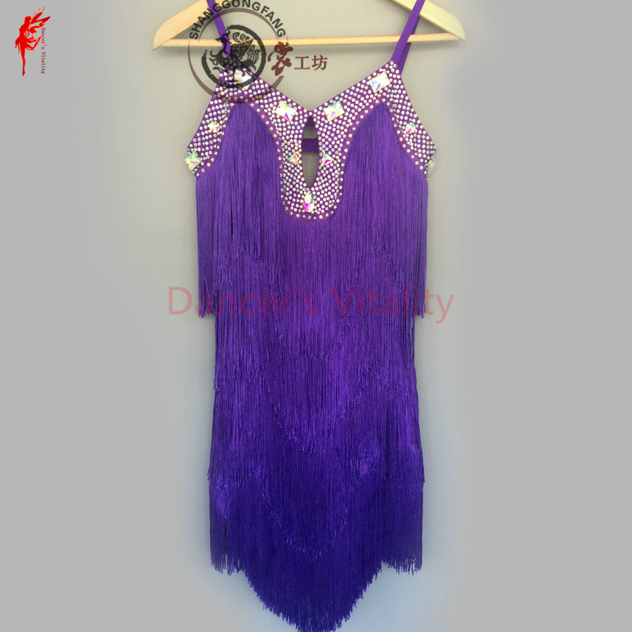 New Latin Dance Costume Sexy Diamond Tassel Latin Dance