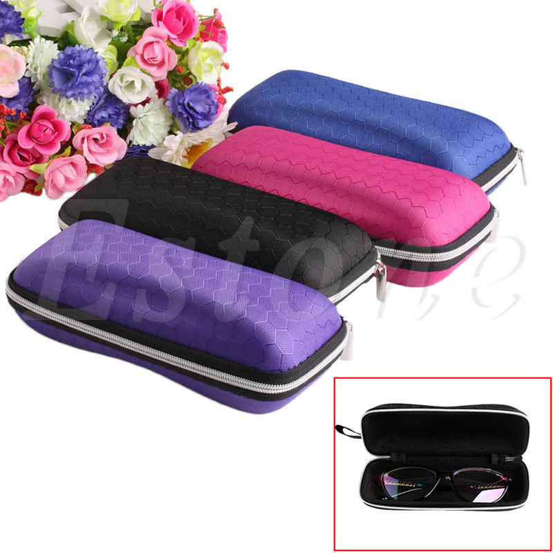 Portable Rectangle Grid Zipper Glasses Hard Eyewear Box for Sunglasses