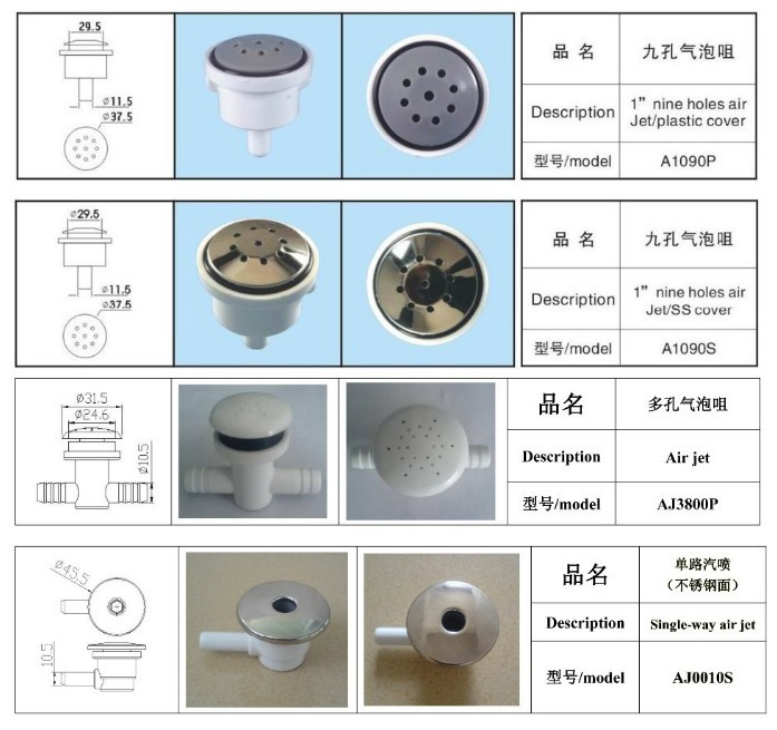 1inch stainless steel hot tub air jet, water jet, air nozzle for ...