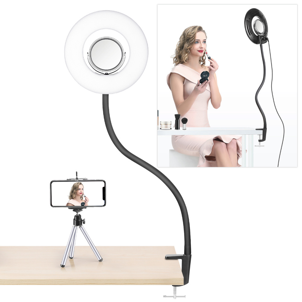 Neewer Dimmable 8 pouces Mini LED anneau lumière avec col de cygne Flexible + pince de bureau + 3.5 pouces miroir + Clip de téléphone + Mini trépied pour la beauté