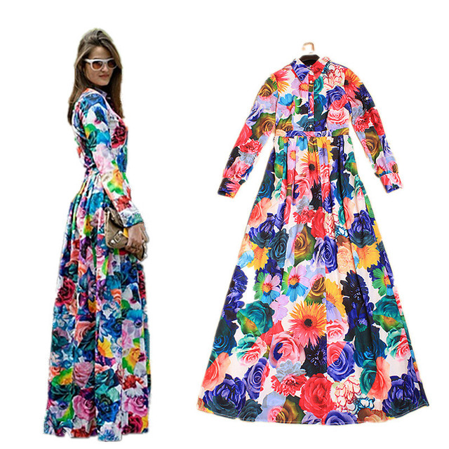 Boutique New Fashion Designer Long Dress Women s colourful Floral Print  Elegant Mopping Floor Maxi Long Dress Party vestidos 967 58504a035