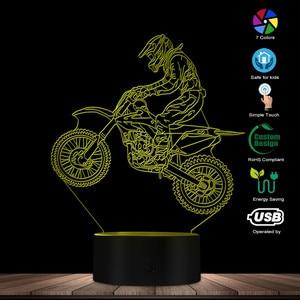 Image 3 - ダートバイク 3D 照光表示デスクランプモトクロスバイク現代イリュージョンギフトのためのフリースタイルモトクロスバイカー