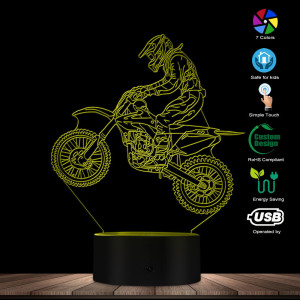 Image 3 - Dirt Bike 3D Illuminated Display Desk Lamp Motorcross Bike Modern Illusion Night Lights Gift For Freestyle Motorcross Bikers