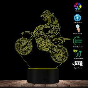 Image 3 - Dirt Bike 3D affichage lumineux lampe de bureau moto cross vélo moderne Illusion veilleuses cadeau pour Freestyle motocross motards