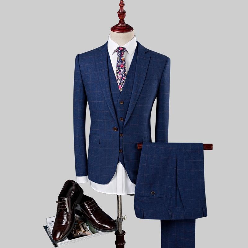 Mode Bleu Printemps D'affaires Casual Style Hommes veste Automne De Marié Gentleman Costume Pantalon Mariage Gilet Costumes Bleu 2019 Pour marine TWAF0q