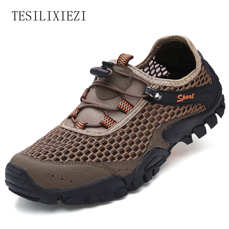 ФОТО 2017 Men Sports Wading Shoes Aqua Water Shoes Summer Breathable Mesh Upstream Light Amphibious Drainage Outdoor Shoes Sneakers