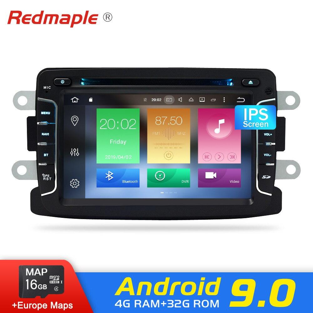 Android 9.0 rádio do carro dvd player para renault duster sandero dacia lada xray 2 logan vídeo estéreo de navegação multimídia