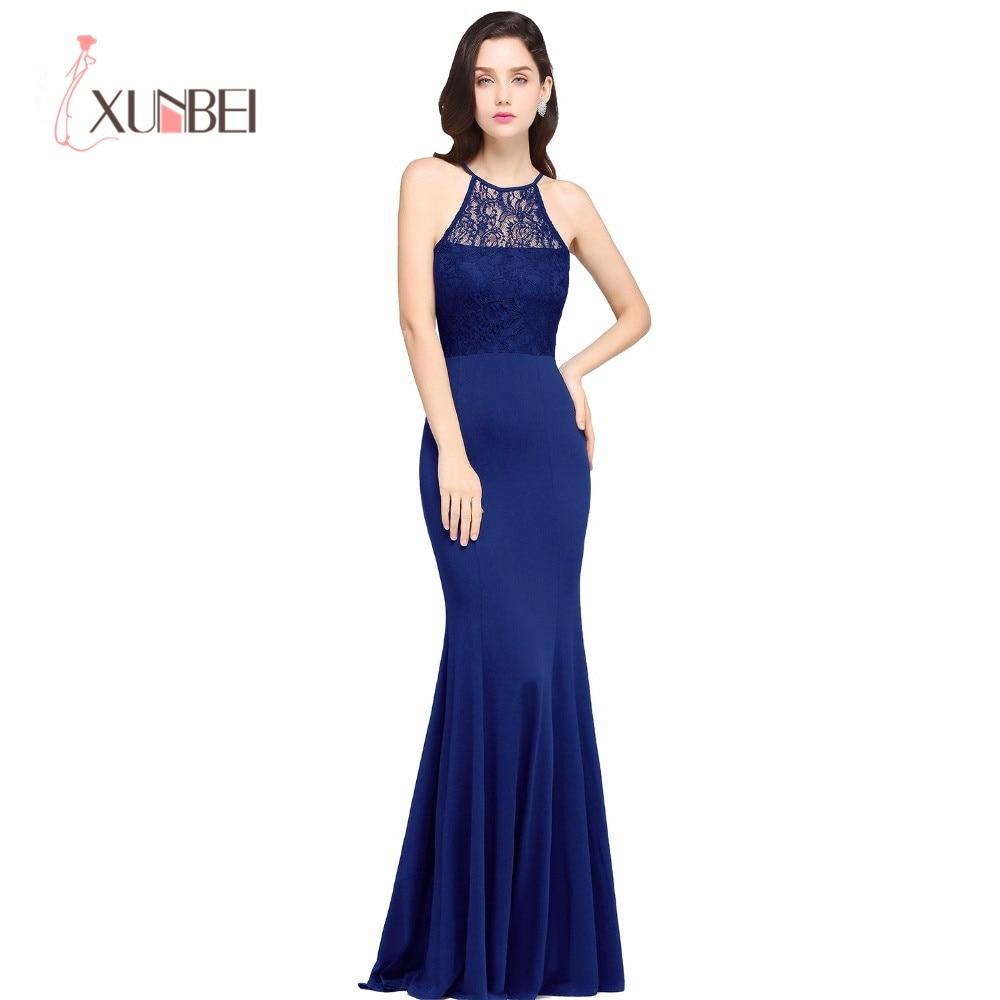 Elegant Halter Lace Mermaid Evening Dresses Satin Floor Length