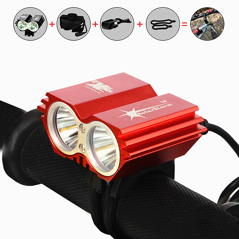 SolarStorm Flash Light Bicycle Bike Headlight Lamp Torch 5000Lumens X2 Led Bike Light Night Lantern+ 6400mAh Battery + Charger 3800 lumens cree xm l t6 5 modes led tactical flashlight torch waterproof lamp torch hunting flash light lantern for camping z93