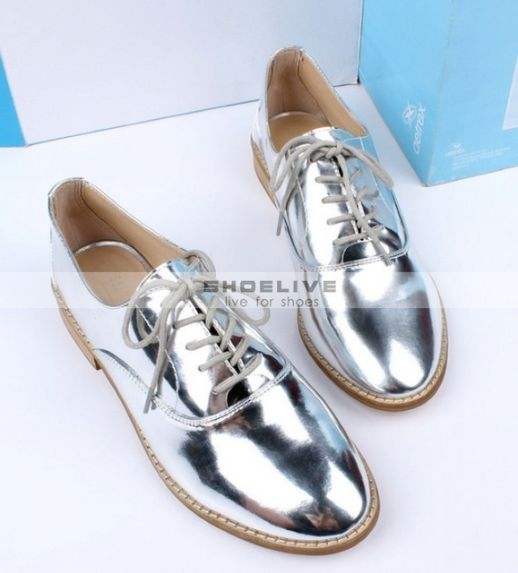 76328da48ee225 new fashion free shipping New Fashion PATENT BLUCHER Silver Leather Oxfords shoes  Womens Flat Lace Up Ballet free shipping